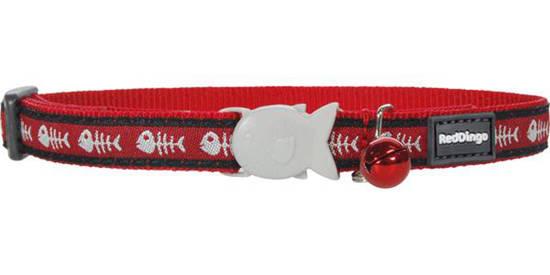 Picture of Red Dingo Cat Collar - Red/Fish bone - 20-32cm